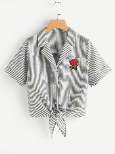 Notch Collar Rose Patch Tie Front Shirt