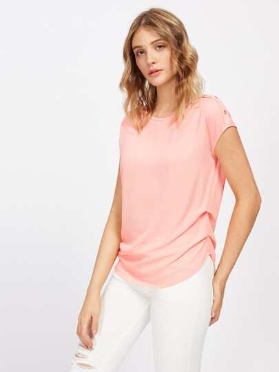 Buttoned Shoulder Gathered Side Cap Sleeve Top