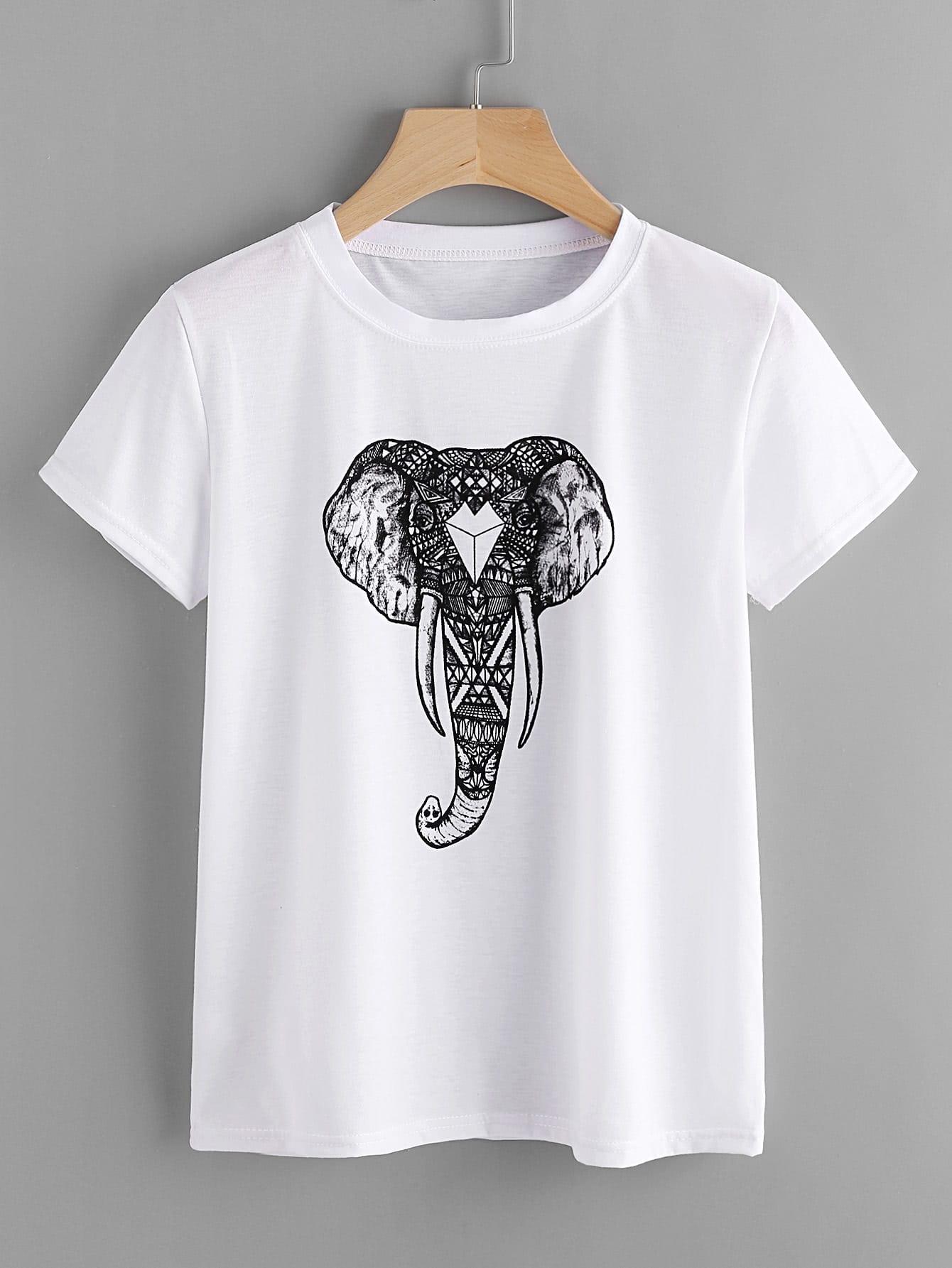 все цены на Ornate Elephant Print Tee