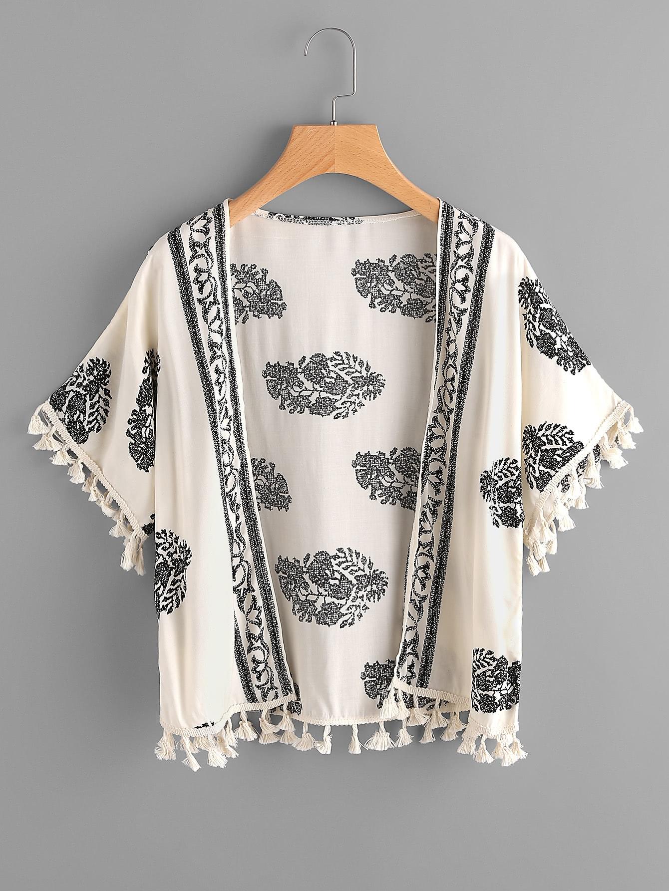Фото Leaf Print Tassel Hem Kimono. Купить с доставкой