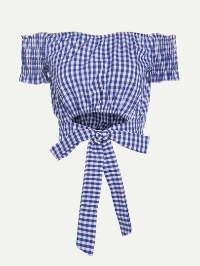 Checkered Tie Waist Crop Top