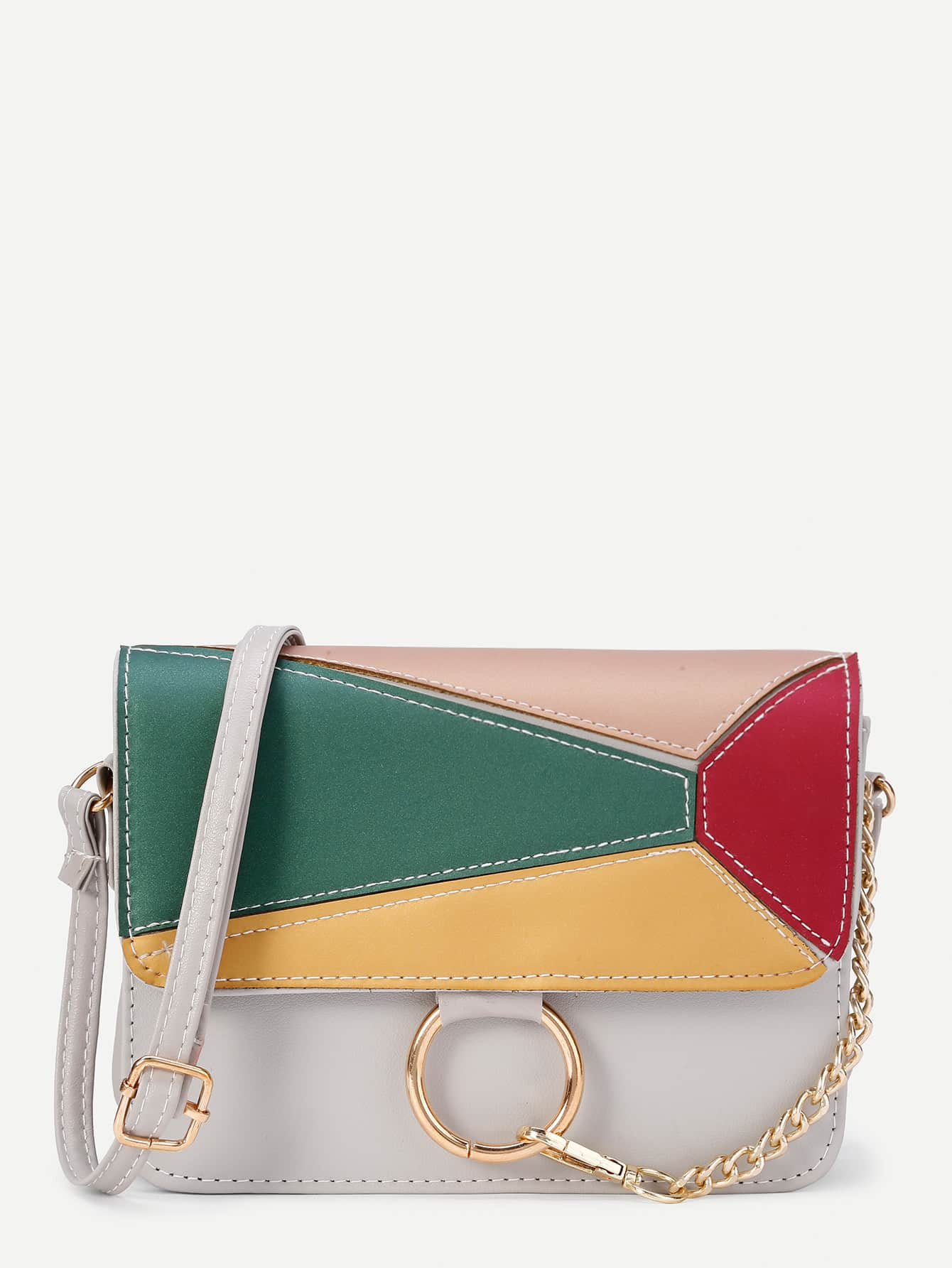 Фото Ring Design Color Block Flap PU Shoulder Bag. Купить с доставкой