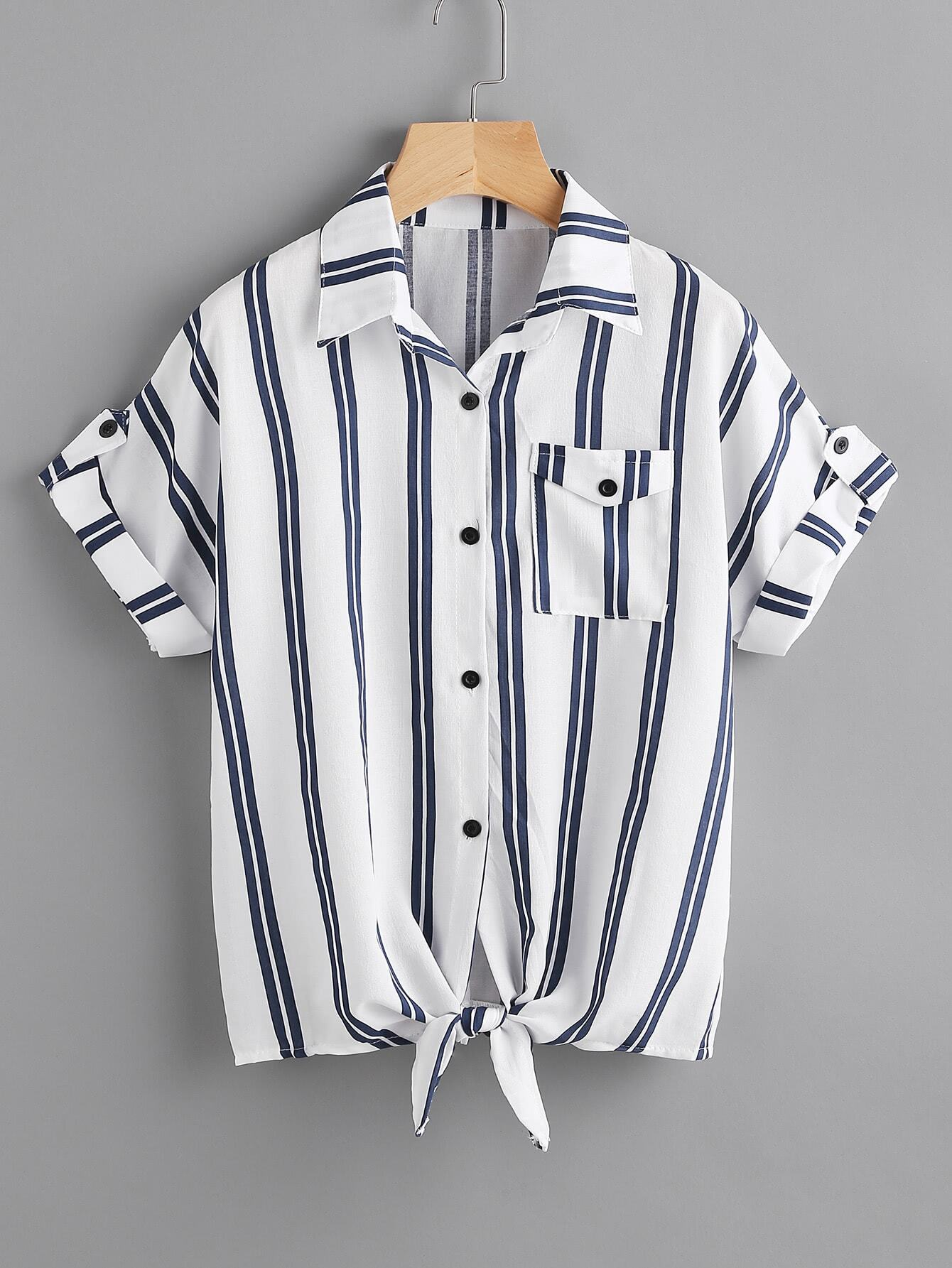 Striped Knotted Hem Cuffed Shirt With Chest Pocket roll tab sleeve knotted hem striped shirt