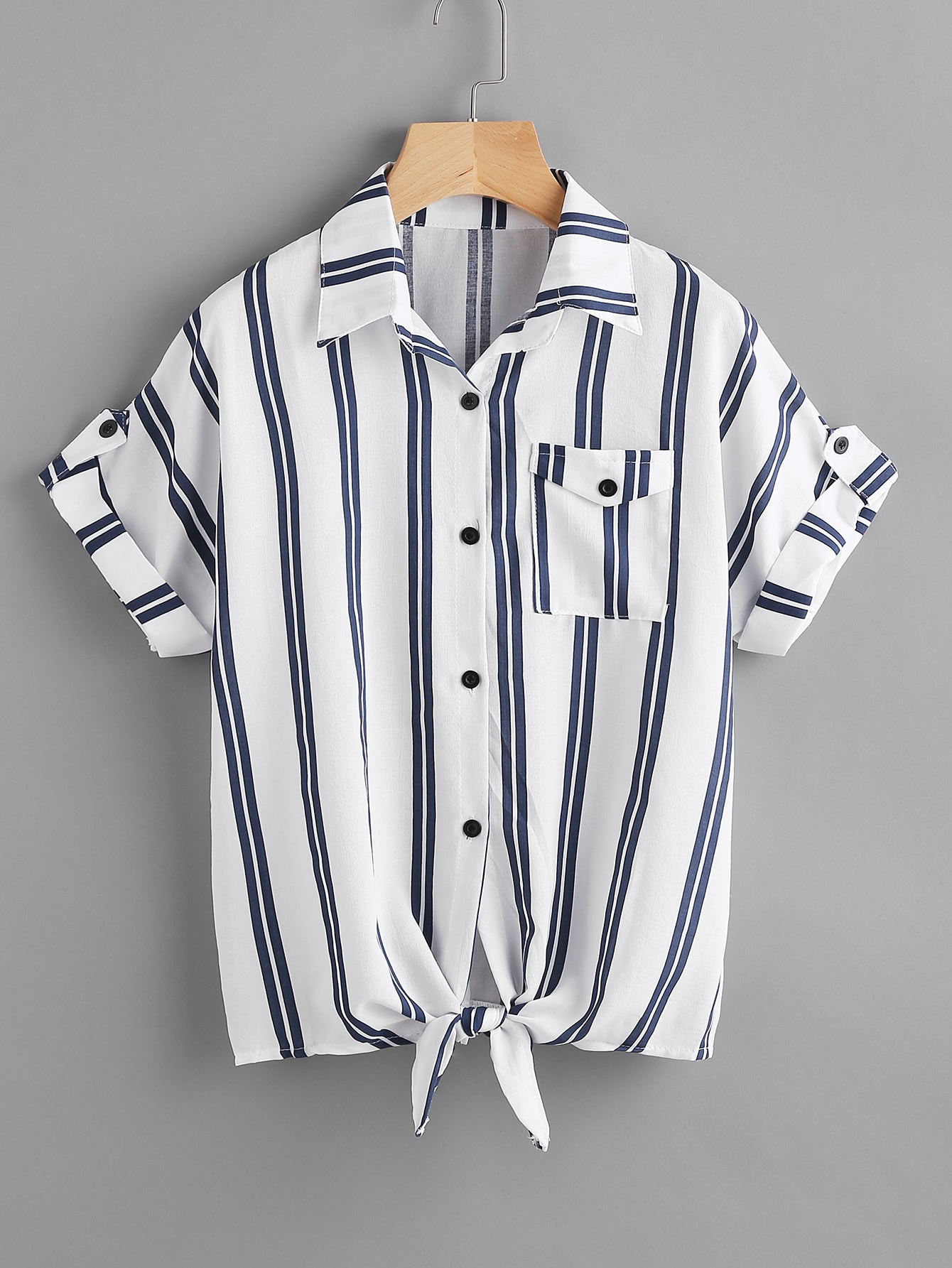 Striped Knotted Hem Cuffed Shirt With Chest Pocket knotted hem cuffed marled tee