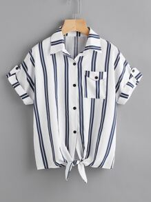 Striped Knotted Hem Cuffed Shirt With Chest Pocket