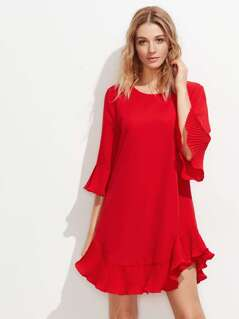 Pleated Frill Trim Dress