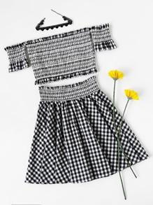 Frilled Embroidered Smocked Bardot Top And Skirt Set
