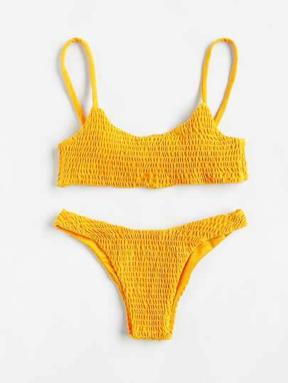 Push Up Shirred Bikini Set