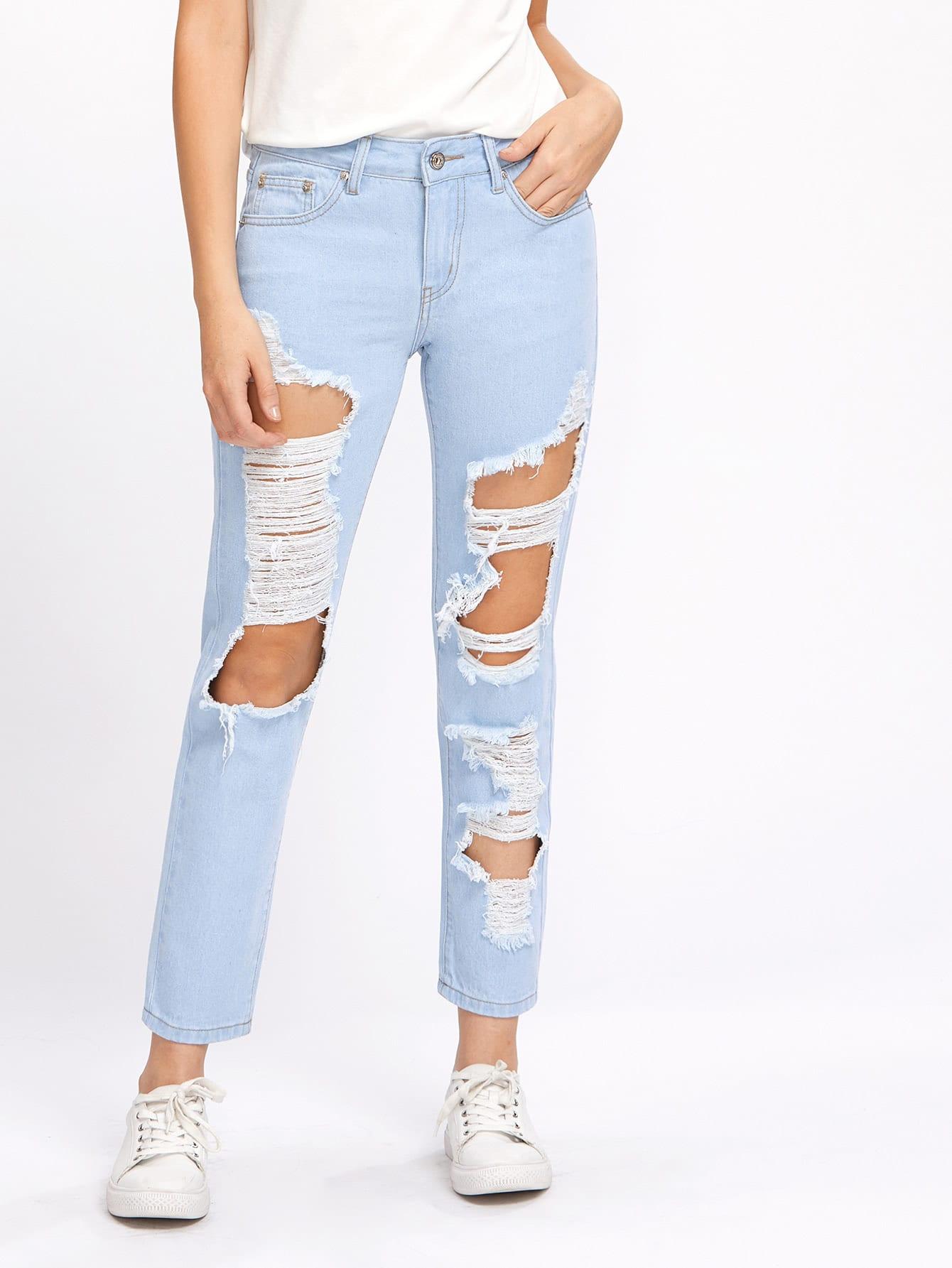 Фото Light Wash Destroyed Jeans. Купить с доставкой