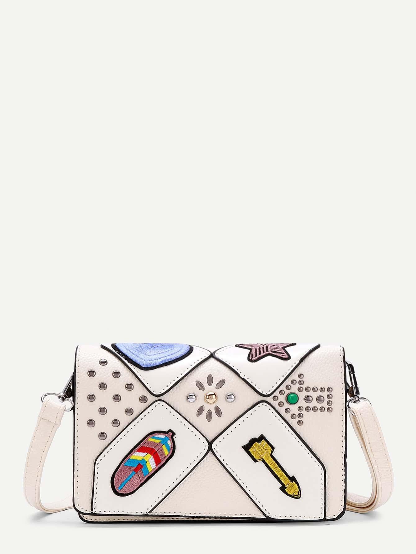 Фото Arrow Embroidery PU Crossbody Bag With Studded. Купить с доставкой