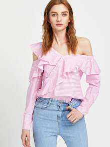 Pink Striped Off The Shoulder Asymmetric Placket Ruffle Top