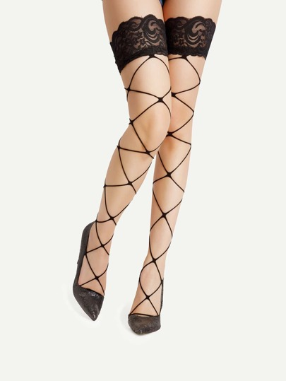 Lace Cuff Thigh High Net Socks