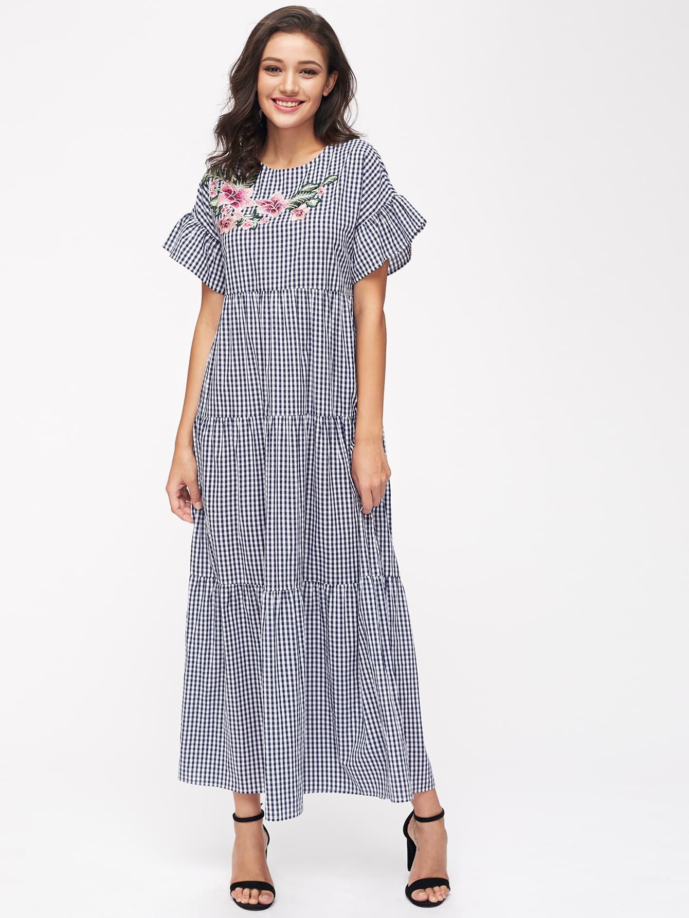 Фото Embroidered Flower Patch Frilled Sleeve Tiered Checkered Dress. Купить с доставкой