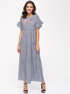 Embroidered Flower Patch Frilled Sleeve Tiered Checkered Dress