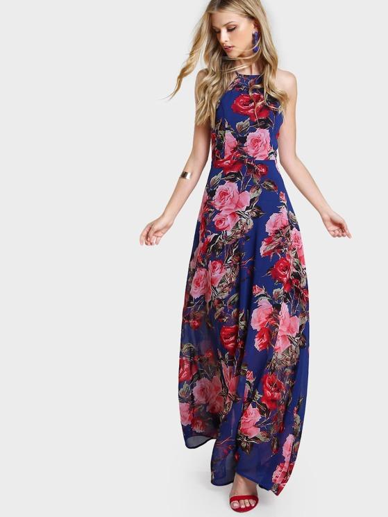 d500534f1f1a Flower Print Racer Halter Neck Open Back Maxi Dress | MakeMeChic.COM