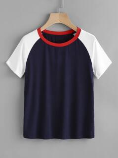 Contrast Raglan Sleeve T-shirt