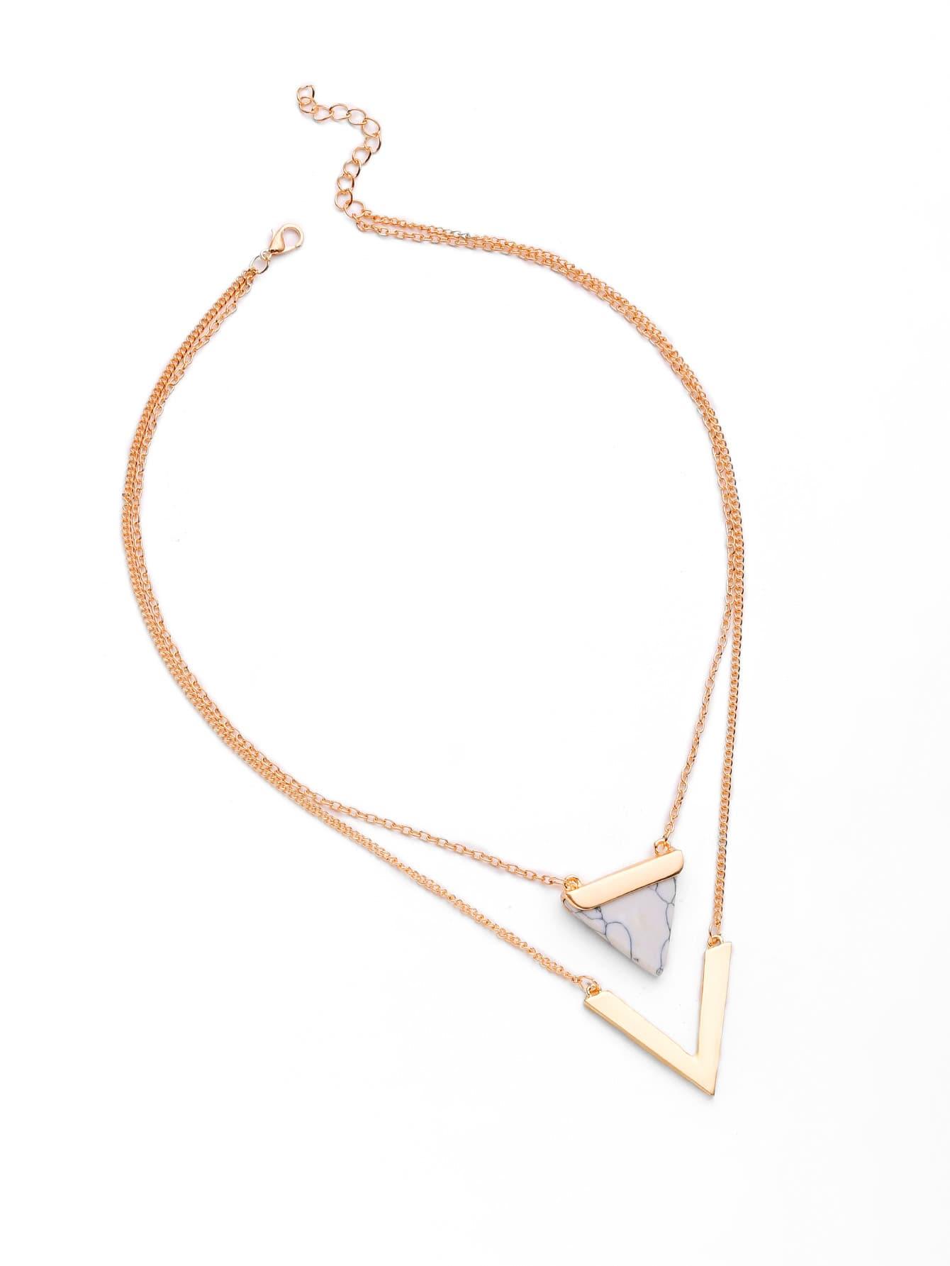 Фото Metal V Shaped And Triangle Design Layered Necklace. Купить с доставкой