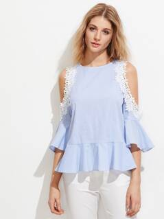 Open Shoulder Lace Applique Bell Sleeve Frilled Top