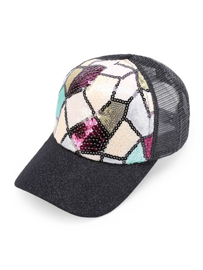 patchwork sequin baseball cap red gold pink