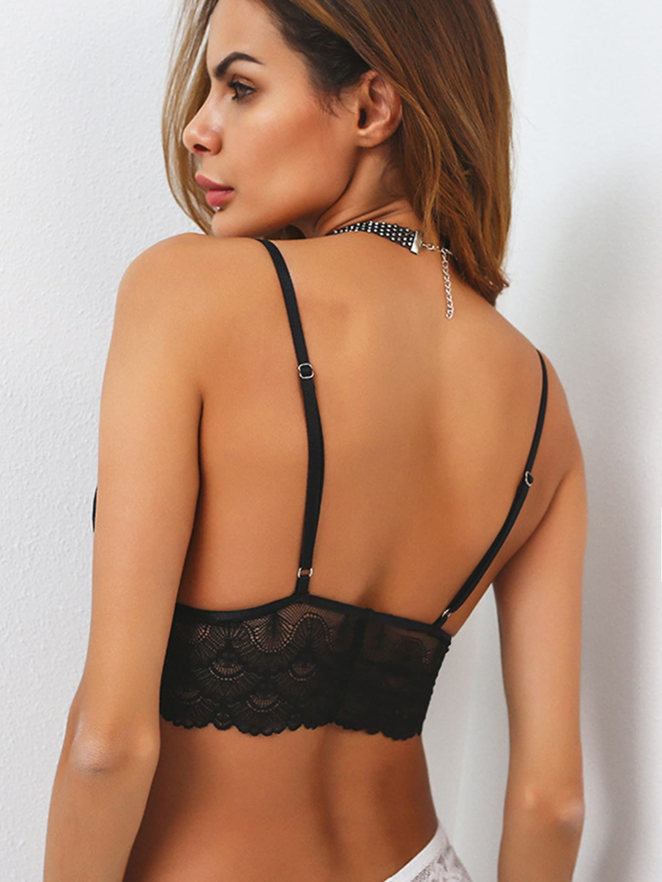 Strappy Lace Scallop Trim Triangle Bra