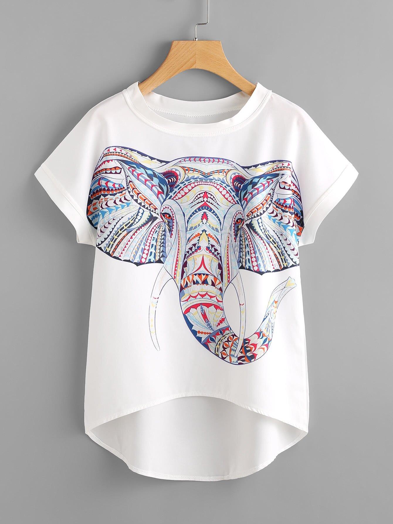aztec elephant print dip hem chiffon top emmacloth women fast