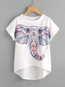 Aztec Elephant Print Dip Hem Chiffon Top