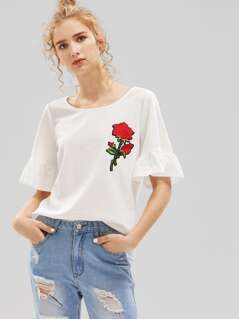 Embroidered Rose Patch Fluted Sleeve Tee