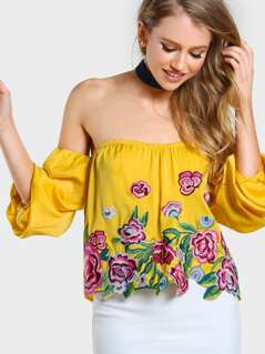 Off Shoulder Bardot Sleeve Embroidered Top MUSTARD