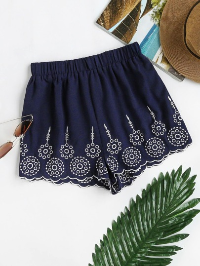 Elastic Waist Geo Embroidered Scallop Hem Shorts