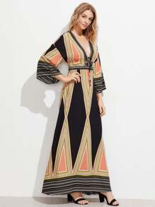 Plunge Neck Split Back Kimono Dress