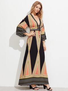 Plunge Neck Split Back Kimono Dress