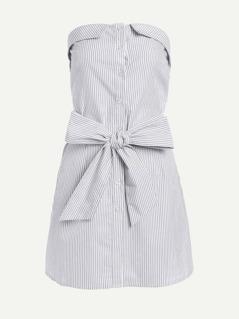 Foldover Tie Waist Bandeau Dress