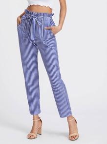 Self Tie Frill Waist Pinstripe Pants