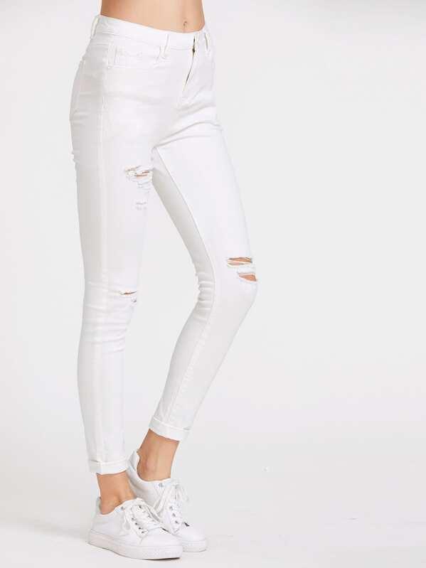 5 Pocket Ripped Skinny Jeans, Tati