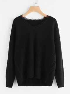 Lace Trim Neck Jumper