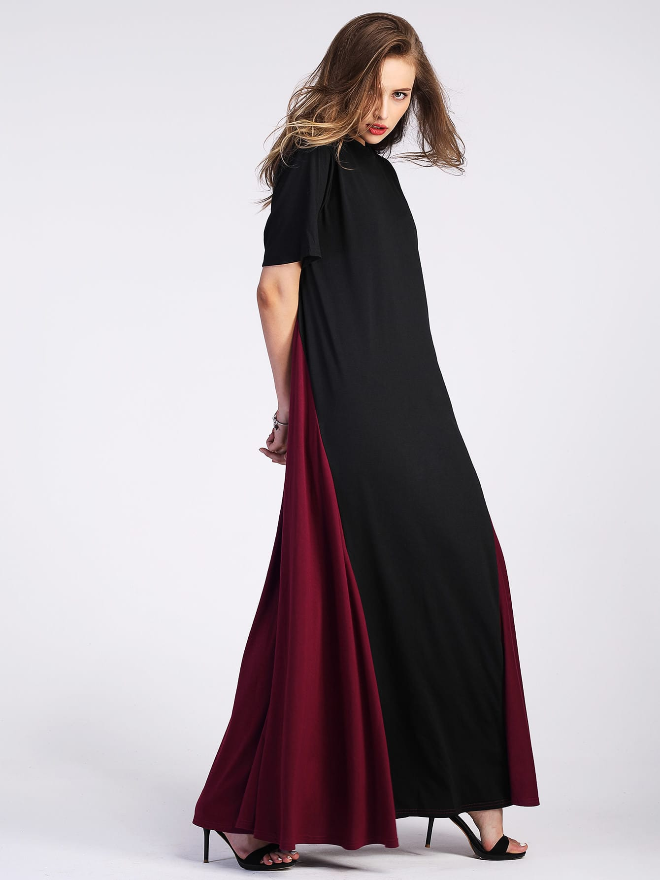 Фото Color Block Floor Length Tent Dress. Купить с доставкой