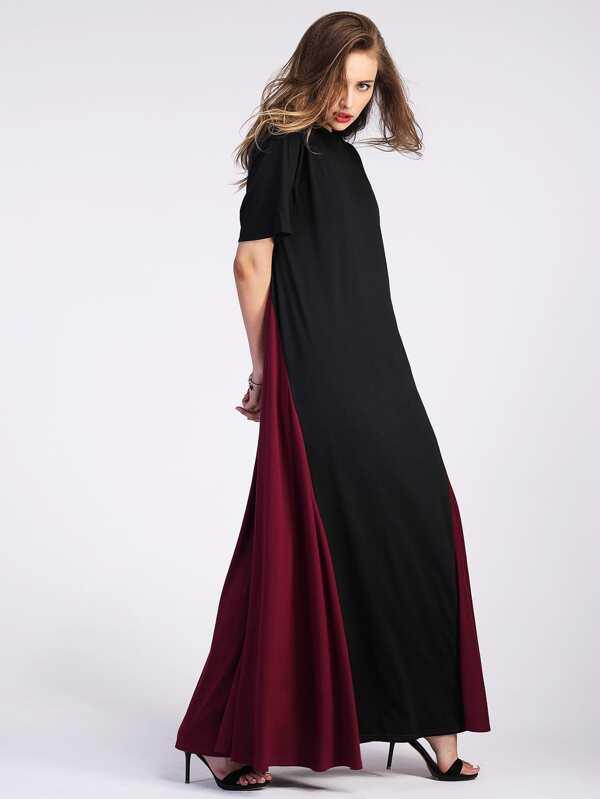 Color Block Floor Length Tent Dress by Sheinside