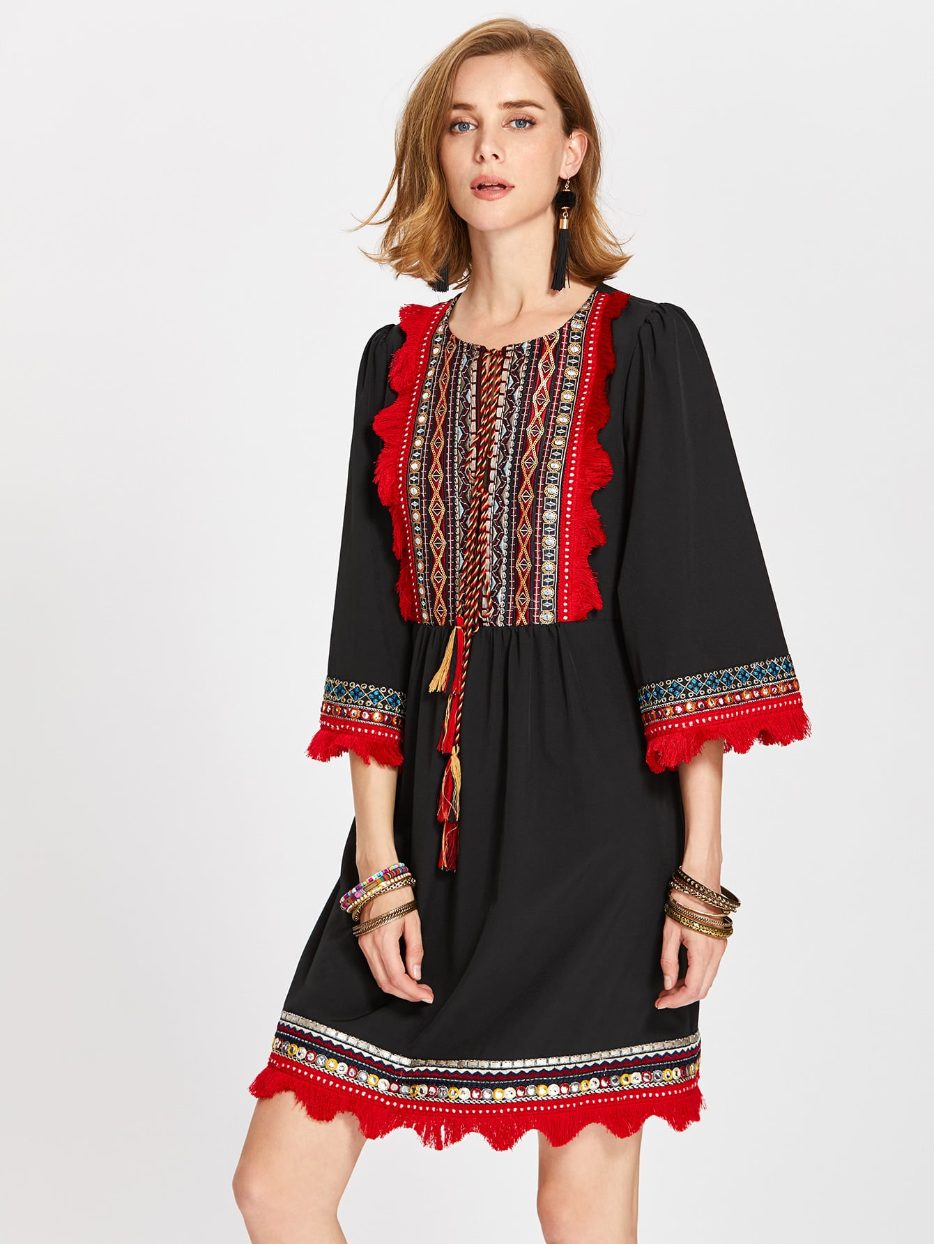 Фото Tasseled Tie Fringe Lace Trim Embroidery Detail Dress. Купить с доставкой