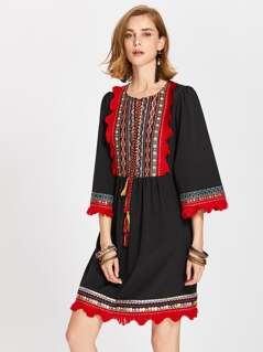 Tasseled Tie Fringe Lace Trim Embroidery Detail Dress