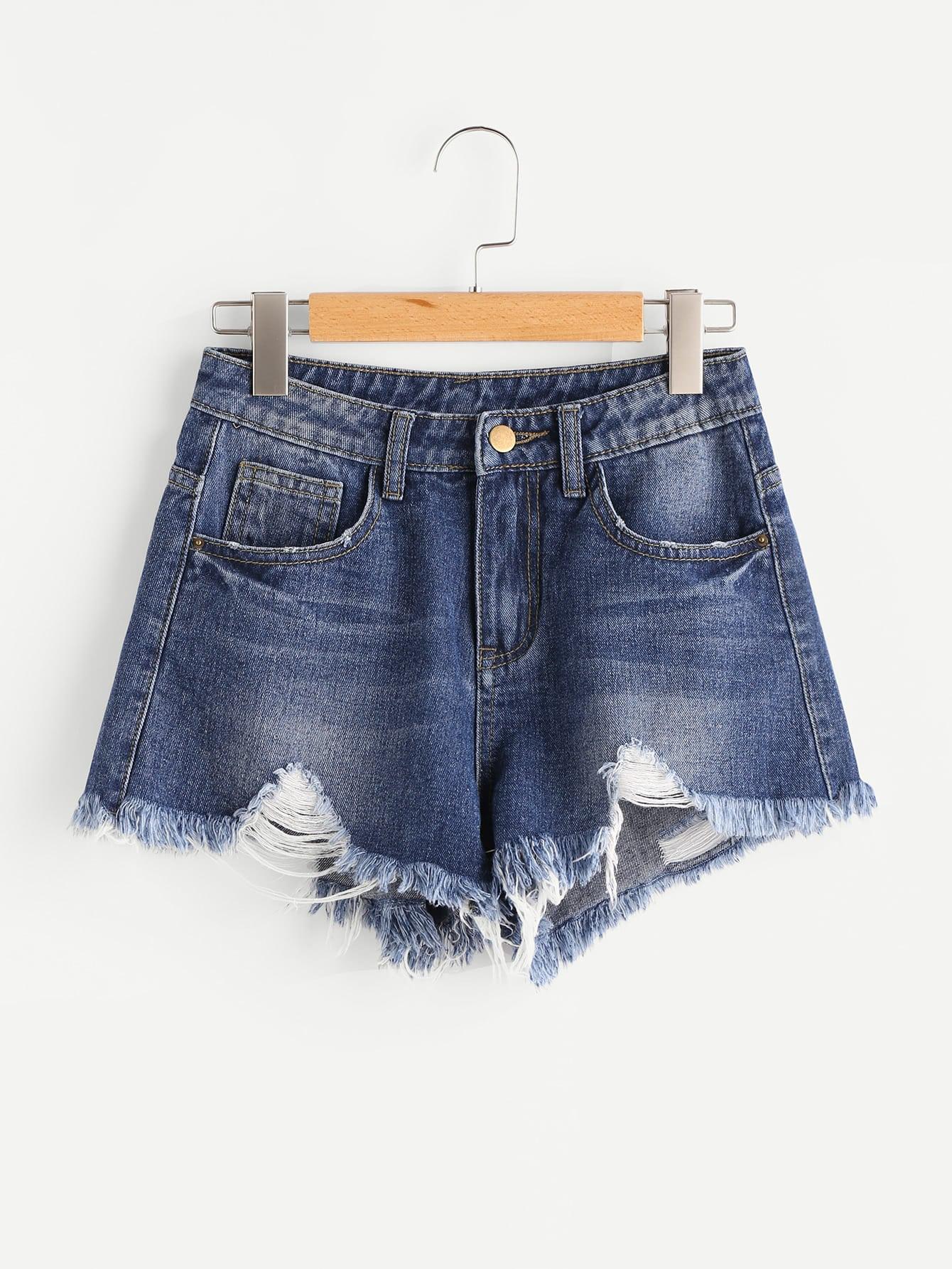 Фото Vented Side Distressed Denim Shorts. Купить с доставкой