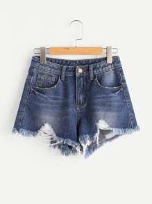 Vented Side Distressed Denim Shorts