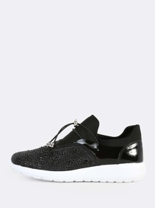 Embellished Crystal Drawcord Sneakers BLACK