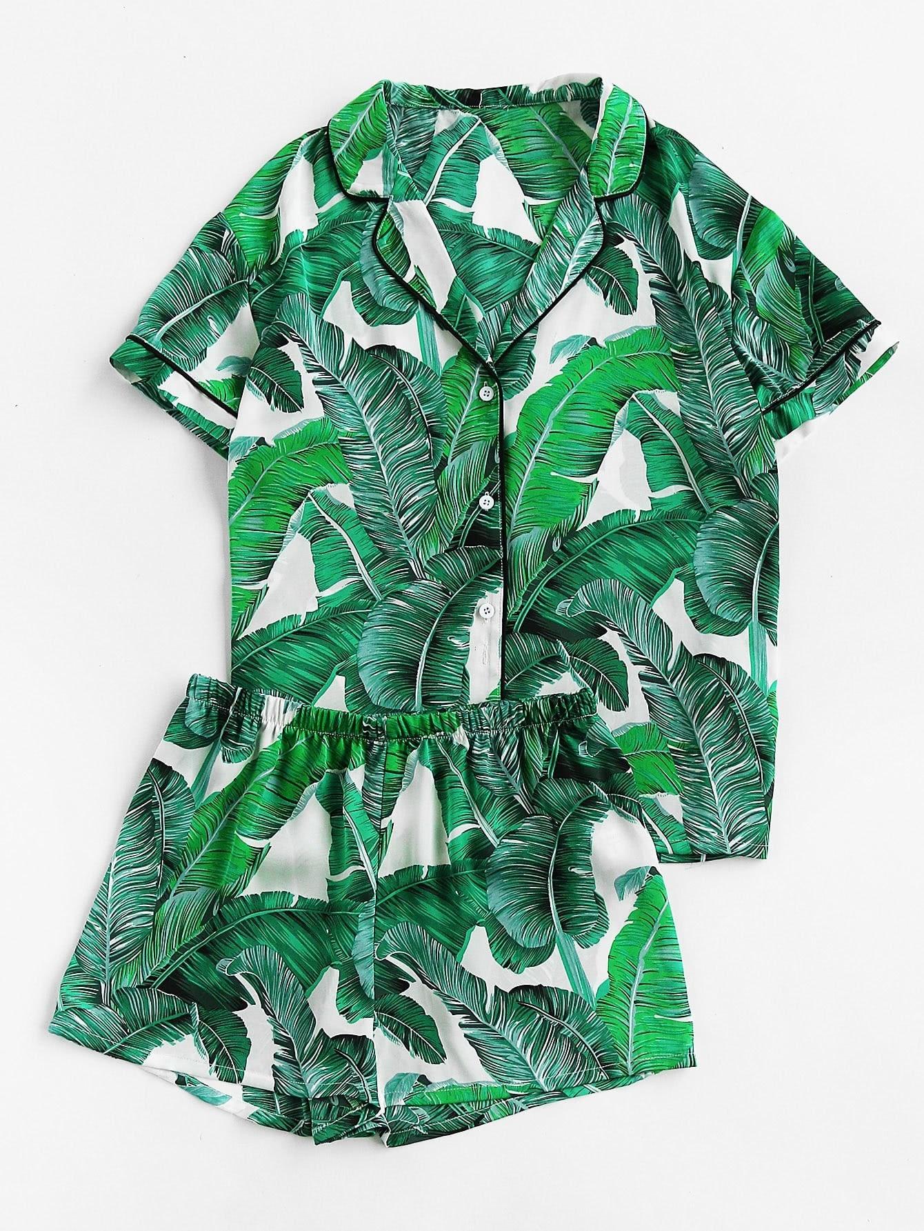 Palm Leaf Print Revere Collar Pajama Set