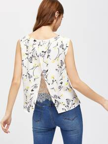 Lace Insert Open Back Floral Shell Top