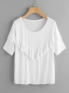 V Frill Trim Cut And Sew T-shirt