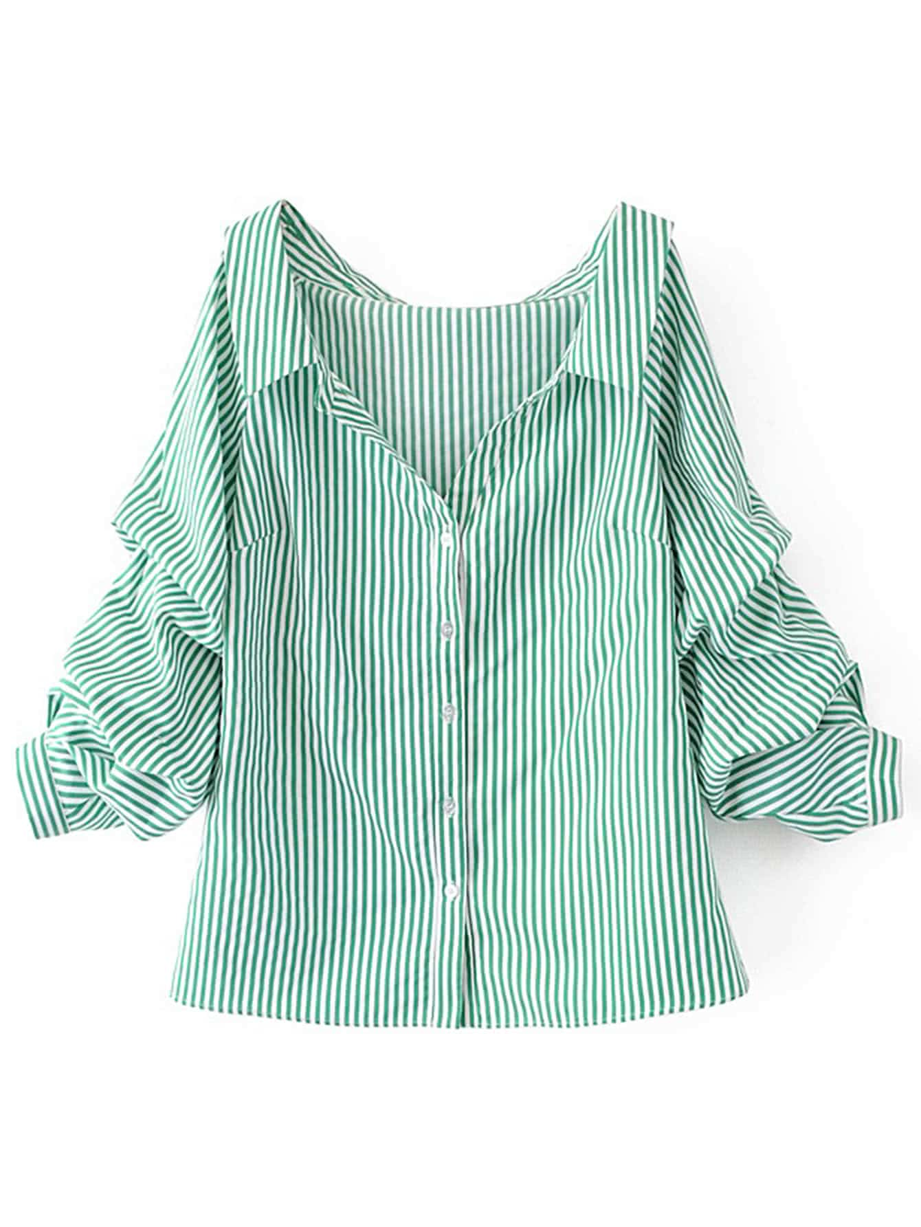 Vertical Striped Tunic Blouse 4304