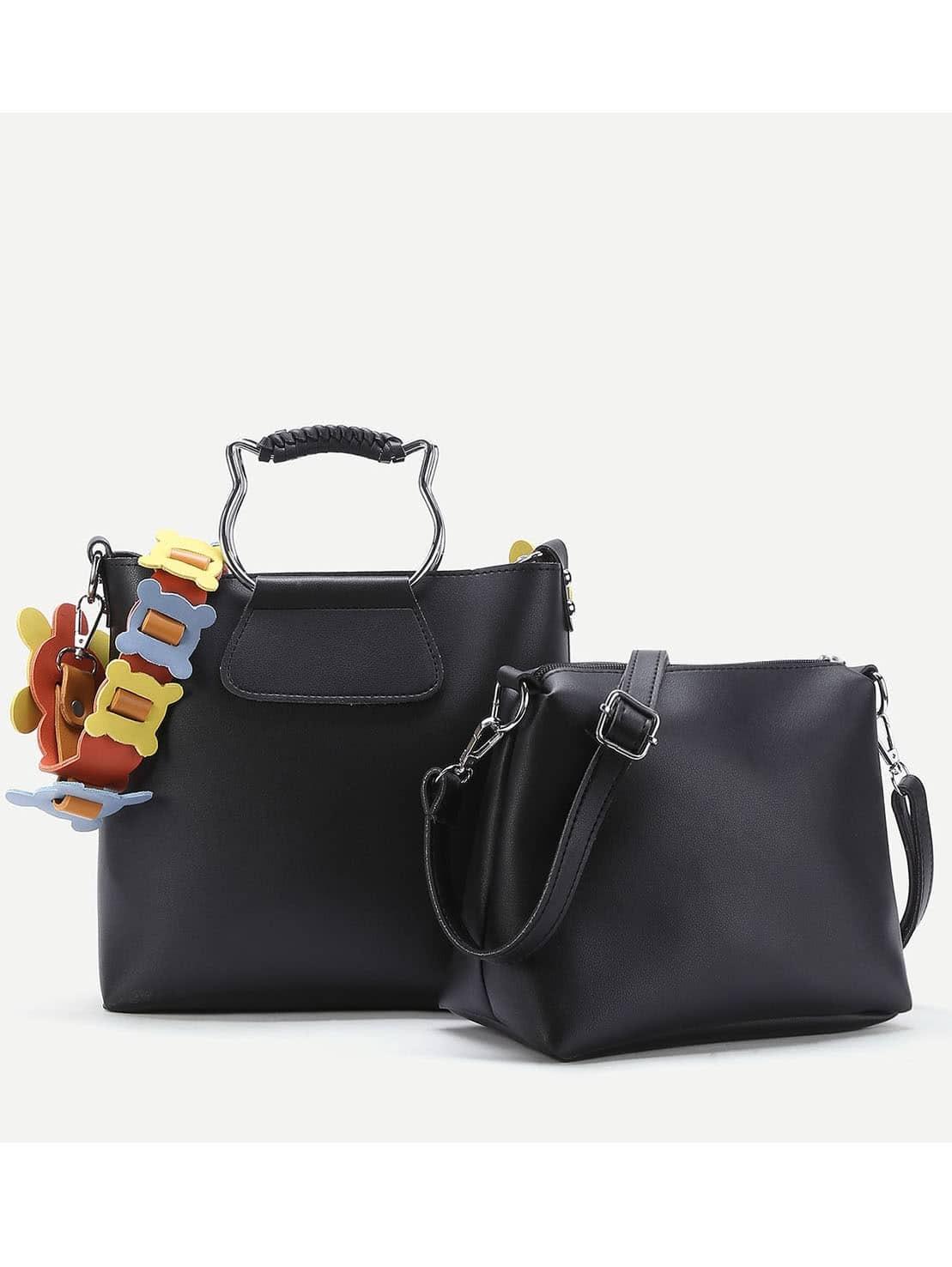 Фото Contrast Strap PU Combination Bag With Cat Ear Handle. Купить с доставкой
