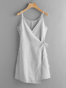 Vertical Striped Wrap Cami Dress