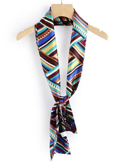 Striped Print Satin Skinny Scarf