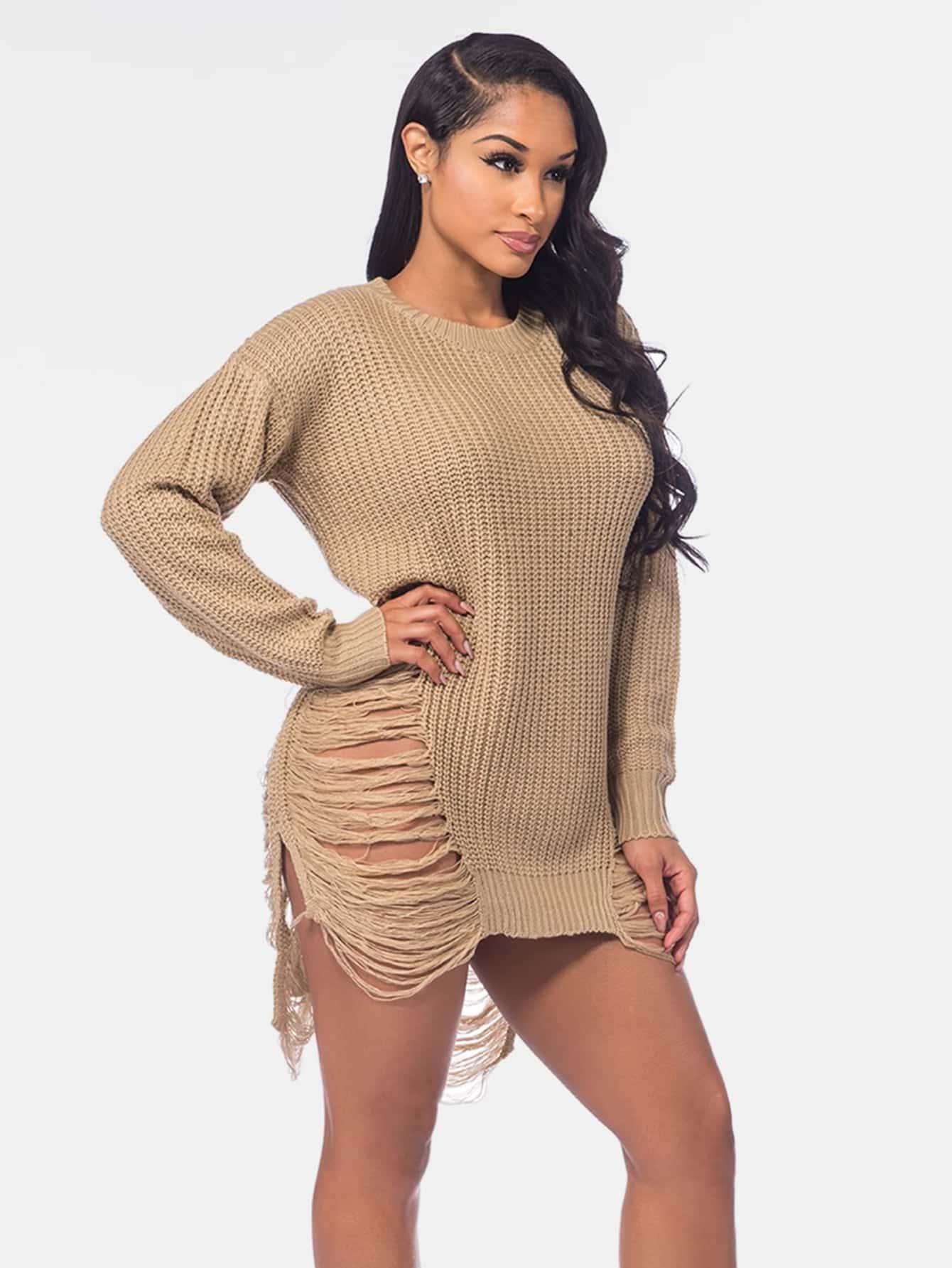 Distressed Drop Shoulder Slit Side Sweater sweater170615301